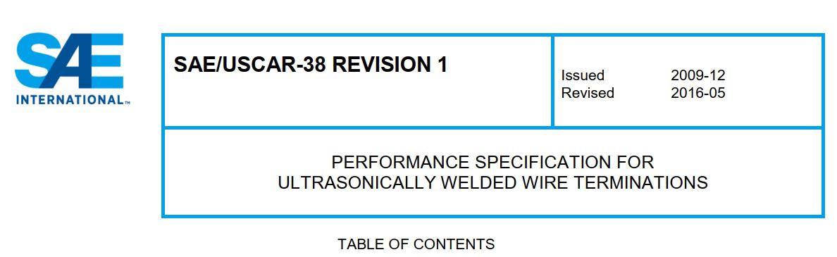 USCAR-38端子焊接性能规范下载(中文PDF)