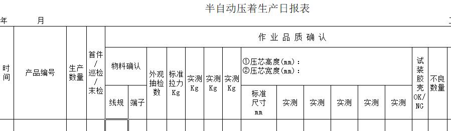 线束生产日报表下载