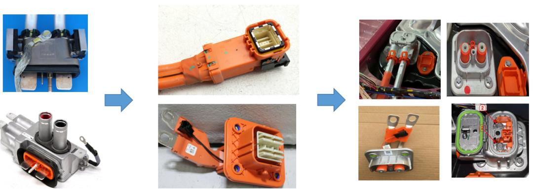 大众和特斯拉高压连接器的变化